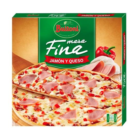 pizza fina jamon y queso, 320g