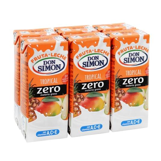 fruta + leche tropical zero 200ml, pk-6