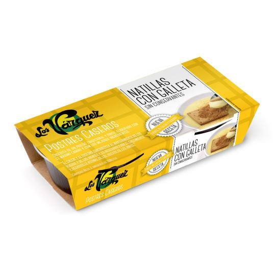 natillas con galleta 180g, pk-2
