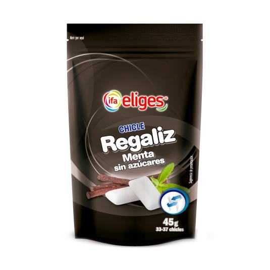 chicles regaliz sin azúcar, 45g