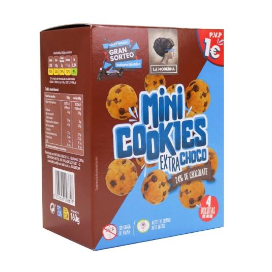 galletas cookies mini extra chocolate, 160g