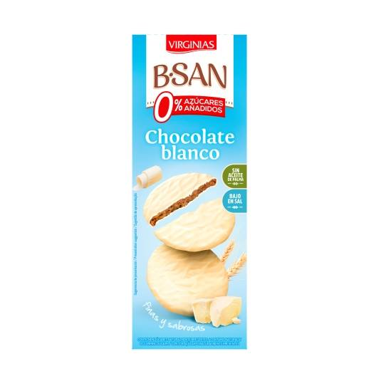 galletas chocolate blanco 0% b-san, 120g